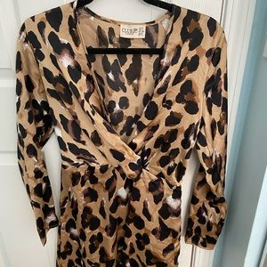 ASOS cheetah long sleeve dress